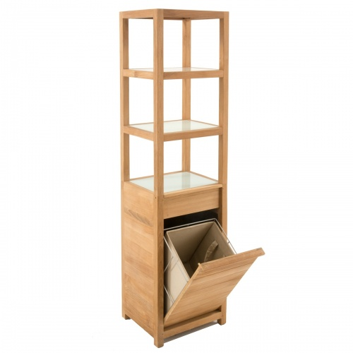 Pacifica Teak Laundry Hamper and Shelf - Picture B