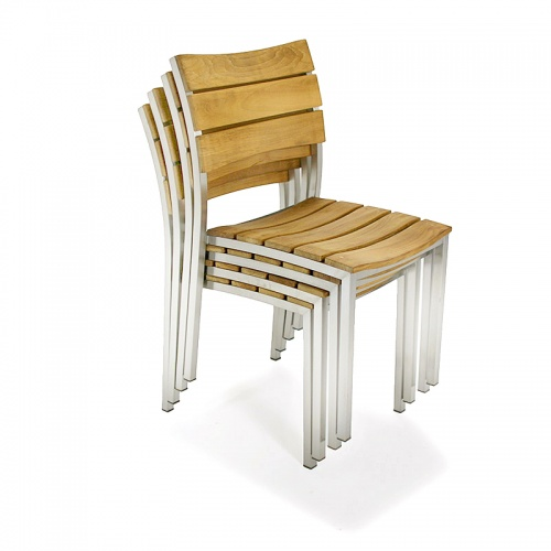 Teak Stainless Steel Stacking Dining Chair - Picture D