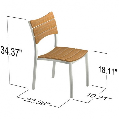 Teak Stainless Steel Stacking Dining Chair - Picture E