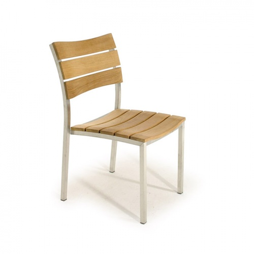 Teak Stainless Steel Stacking Dining Chair - Picture B