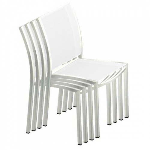 Stainless Steel Textilene Stacking Dining Chair - Picture D