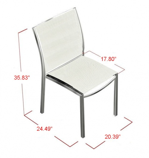 Stainless Steel Textilene Stacking Dining Chair - Picture E