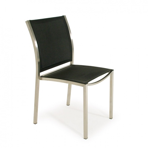 Stainless Steel Textilene Stacking Dining Chair - Picture A