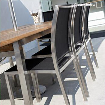 Stainless Steel Textilene Stacking Dining Chair - Picture B