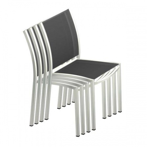 Stainless Steel Textilene Stacking Dining Chair - Picture C