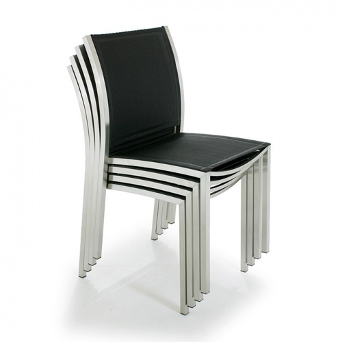 Stainless Steel Textilene Stacking Dining Chair Cl - Picture A