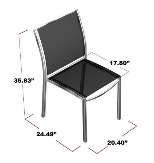 Stainless Steel Textilene Stacking Dining Chair Cl - Picture D