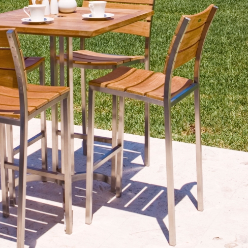 Teak and Stainless Steel stacking barstool - Picture A