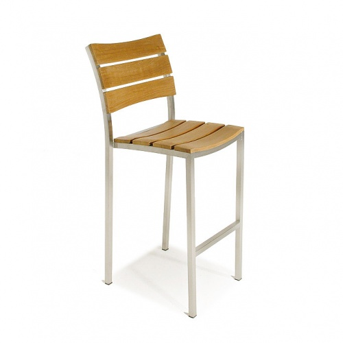 Teak and Stainless Steel stacking barstool - Picture B