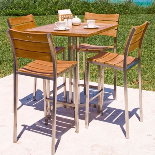 Teak and Stainless Steel stacking barstool - Picture C