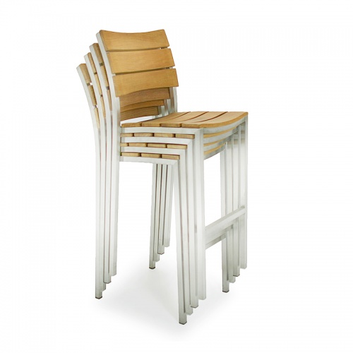 Teak and Stainless Steel stacking barstool - Picture D