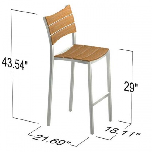Teak and Stainless Steel stacking barstool - Picture E