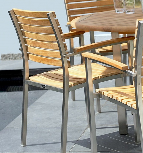 stainless and teak outdoor chairs
