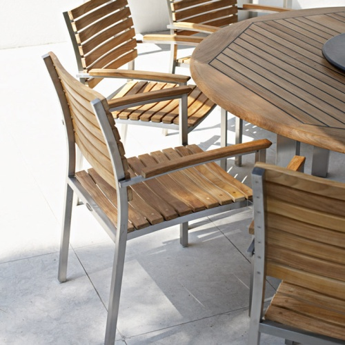 4 Vogue Stackable Dining Chairs - Teak & Stainless - Picture B