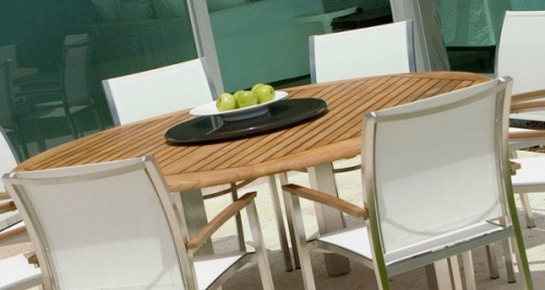 Gemini Teak & Stainless Steel Chair Closeout Item - Picture B