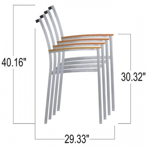 Teak Stainless  Arm Chairs - Picture D