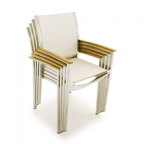 Teak Stainless  Arm Chairs - Picture A