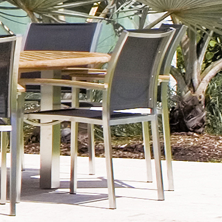 Teak Stainless  Armchairs - Picture B