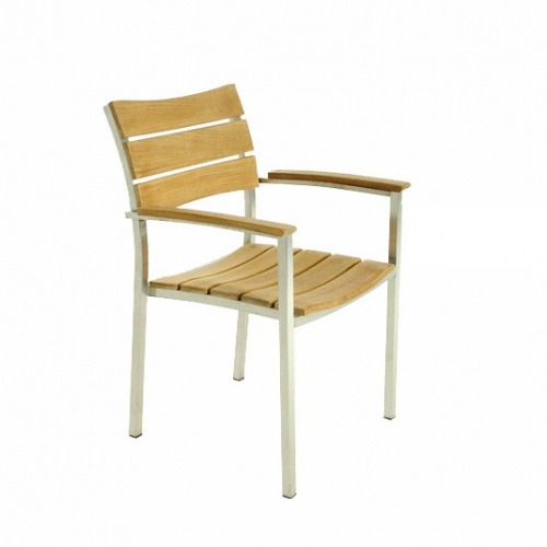 Teak and stainless steel stacking armchair - Picture A