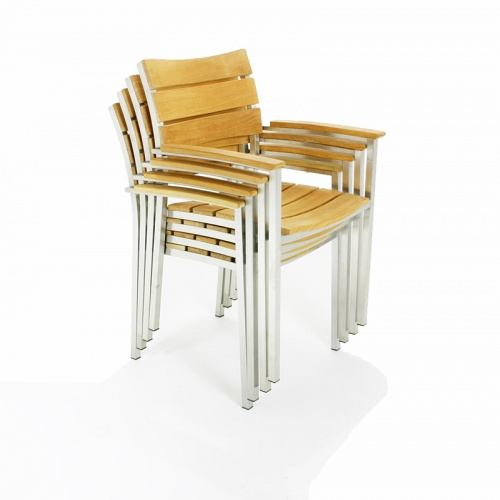 Teak and stainless steel stacking armchair - Picture B