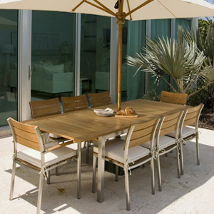 Teak and stainless steel stacking armchair - Picture D