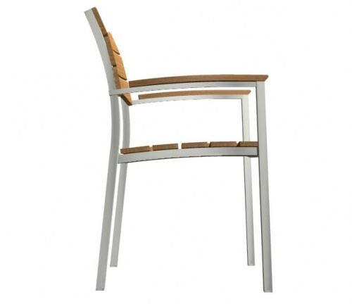 Teak and stainless steel stacking armchair - Picture E