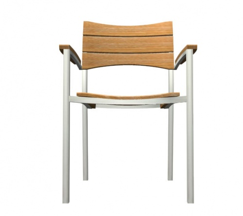 Teak and stainless steel stacking armchair - Picture F