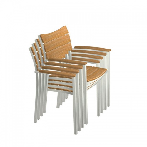 Teak and stainless steel stacking armchair - Picture H