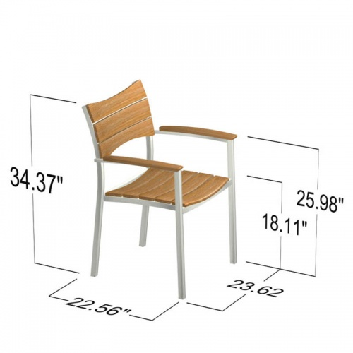 Teak and stainless steel stacking armchair - Picture I