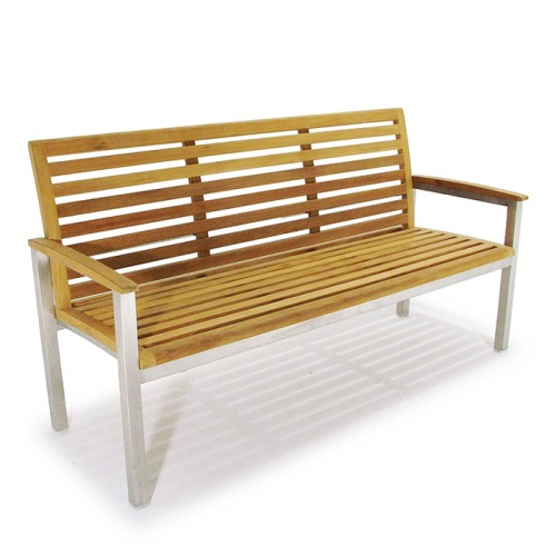 Vogue Stainless Steel Teak 5 ft foot Bench - Picture C