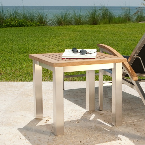 teak and stainless steel side tables
