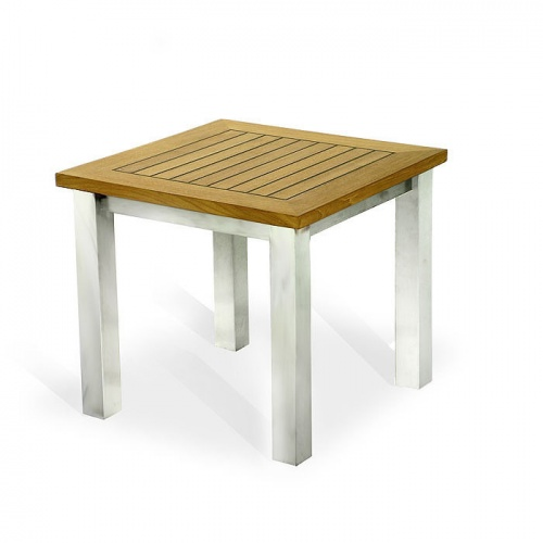Vogue Teak & Stainless Steel End Table Clearance S - Picture B