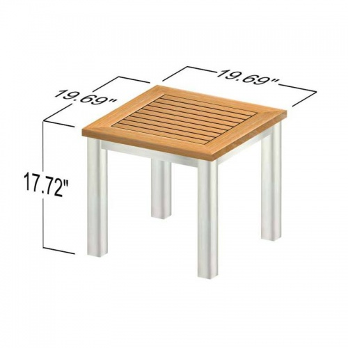 Vogue Teak & Stainless Steel End Table Clearance S - Picture D