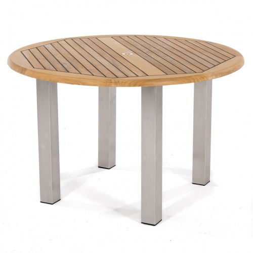 Teak and Stainless Steel Round Table - Picture A
