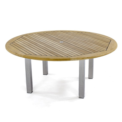 teak and stainless steel dining tables