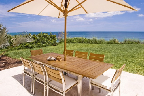 Teak with Stainless Steel Extendable Table - Picture A