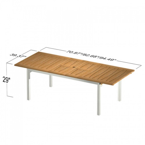 Teak with Stainless Steel Extendable Table - Picture E