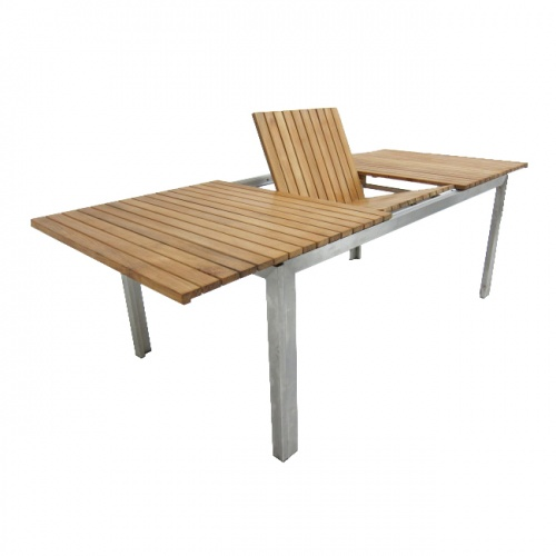 Selina Teak and Stainless Steel Extending Outdoor  - Picture A