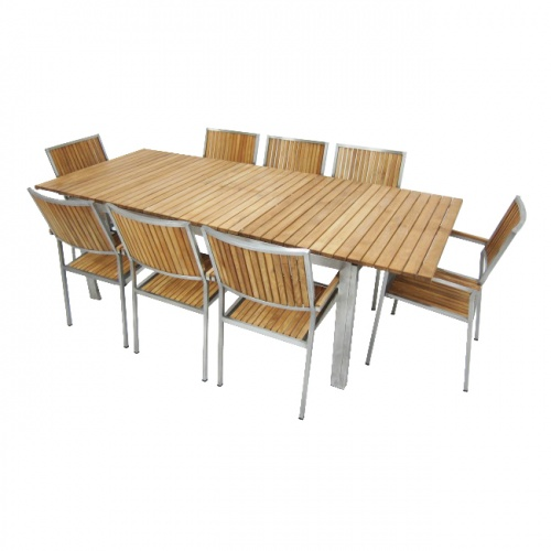 Selina Teak and Stainless Steel Extending Outdoor  - Picture B