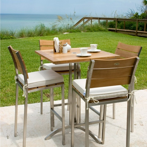 Venezia Teak and Stainless Steel 30 inch Square Ou - Picture B