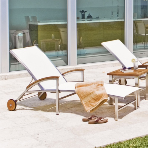 Teak Stainless Lounger - Picture A