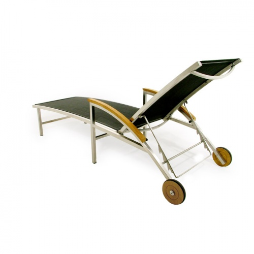 Teak Stainless Steel Lounger - Picture B