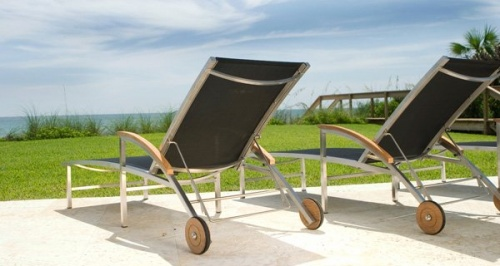 Teak Stainless Steel Lounger - Picture D