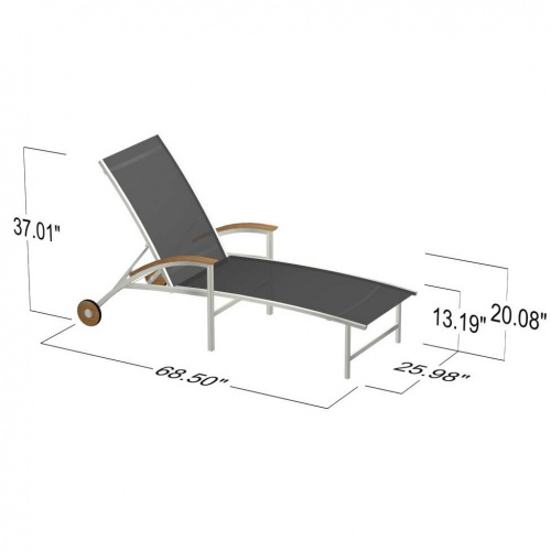 Teak Stainless Steel Lounger - Picture E