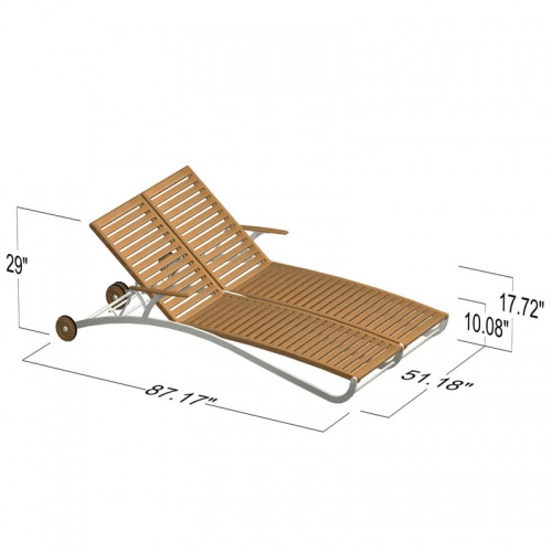 teak chaise lounger - Picture H