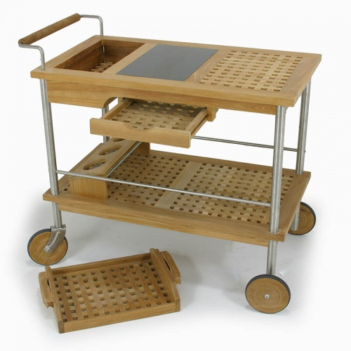 Venetian Teak and Aluminium Drink Trolley - Picture A