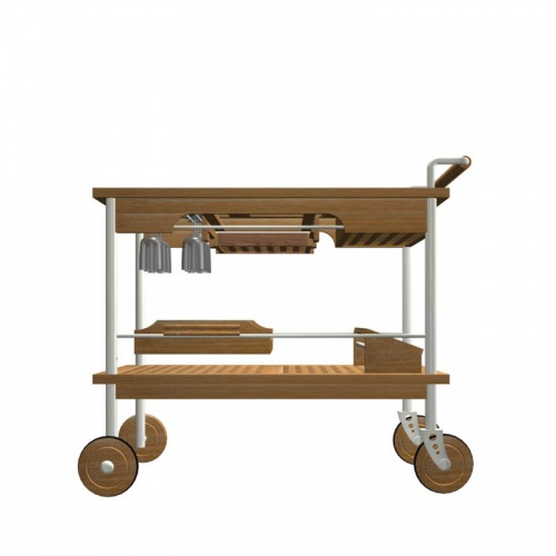 Venetian Teak and Stainless Steel Drink Trolley - Picture C
