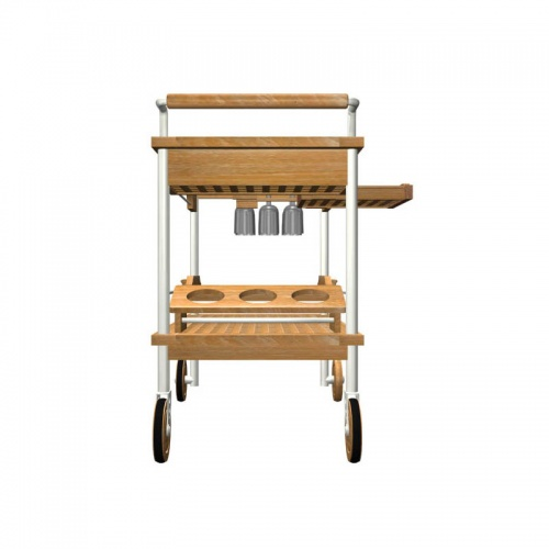 Venetian Teak and Stainless Steel Drink Trolley - Picture D