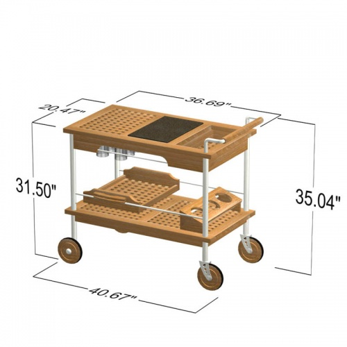 Venetian Teak and Stainless Steel Drink Trolley - Picture E
