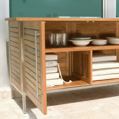 Vogue Teak and Stainless Steel Outdoor Patio Sideb - Picture C